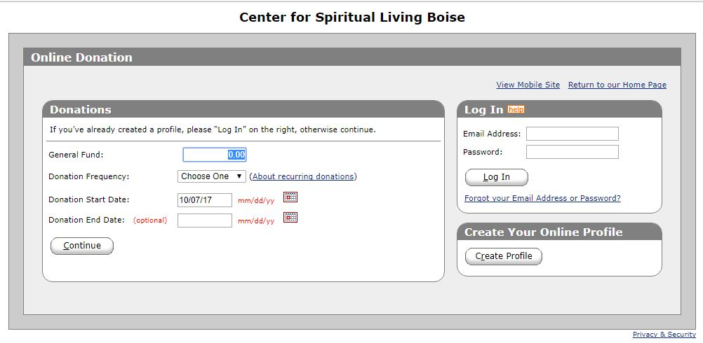 Screen Shot of the Online Giving